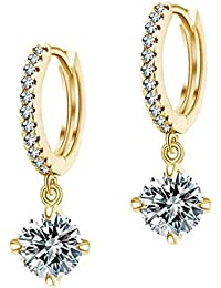 Lady Touch Gold Plated Crystal Diamond Clip-On Earrings For Girls And Women