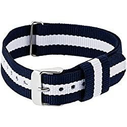 "RE:CRON men wristband watch nylon with stainless steel clasp 20 mm 0.79"" wide compatible with Daniel Wellington watches - dark blue white"