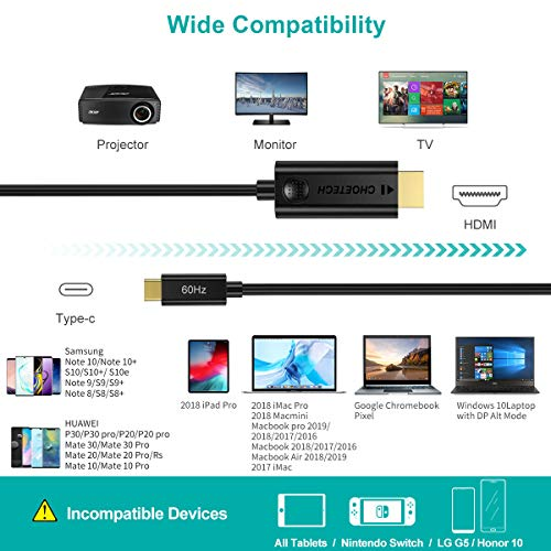choetech usb c hdmi cavo, (4k@60hz) usb 3.1 type c hdmi cable per ipad pro 2018, macbook pro, galaxy s10/s10+/note 8/s9/s9+/s8/s8+, huawei p30/p30 pro/mate20/mate 20 pro/p20/p20 pro/mate 30 (1.8m)