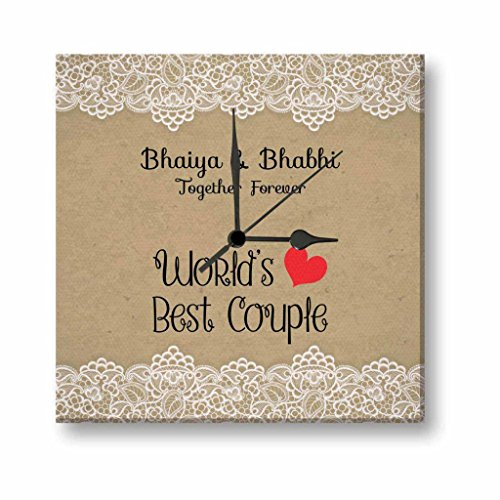 Yaya Cafe TYYC Bhaidooj Diwali Gifts For Bhaiya Bhabhi Worlds Best Couple Bhaiya Bhabhi Canvas Wall Clock - 10X10 Inches