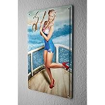 Cartel de chapa Placa metal tin sign Jorgensen Fotografía Foto imágenes rubia modelo del traje de baño barco proa pulpo telescopio 20x30 cm