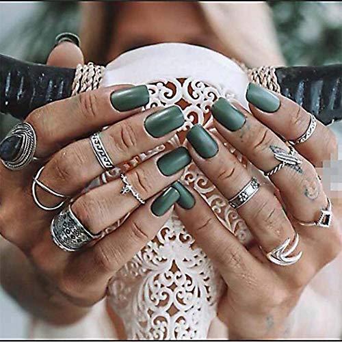 Yean juego anillos cristal negro nudillos, joyería