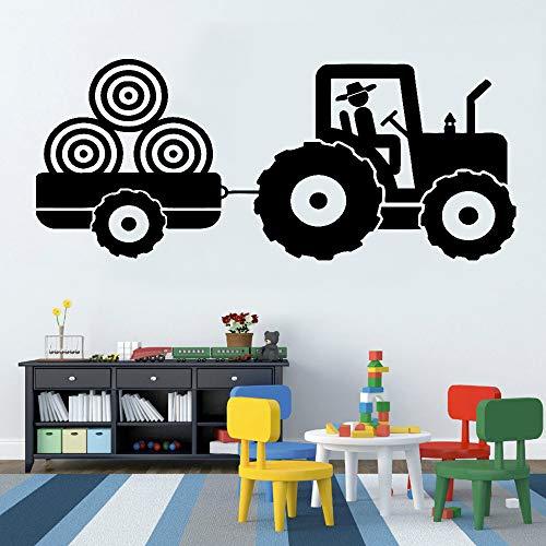 jiuyaomai Traktor Vinyl Aufkleber Wandaufkleber Für Kinderzimmer Anhänger Bauernhof Jungen Raumdekoration Wandtattoos Monochrome 3D Poster Neue Black 121 cm x 56 cm