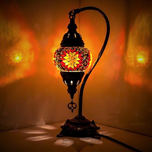 Turkish Mosaic Table Lamp ,Stunning Moroccan Style, Unique Globe Lampshade, Swan Neck Series by TK BAZAAR (Es Es)