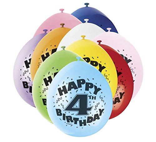 Unique Party Supplies 22,9 cm Latex Ballons, Happy Birthday Sortiert 10 Stück (Supplies Autos In Party)