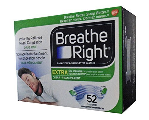 Breathe Right Extra Nasal Strip,(Clear), 52 Strips (Value Pack) -