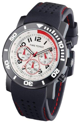 Time Force - TF3197M02 - Montre Homme - Quartz Analogique - Cadran Noir - Bracelet en Caoutchouc Noir