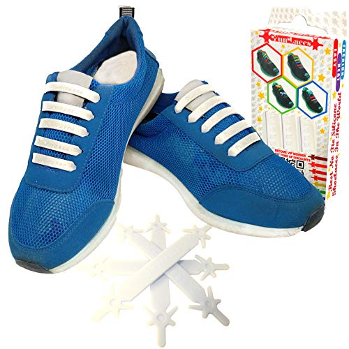 FunFitness Gummi Schnürsenkel (Weiß - Kinder) - Elastische Silikonschnürsenkel mit besonderem Design, einfaches Schnüren und Aufschnüren - Perfekt für Kleinkinder oder ältere Menschen mit Arthritis