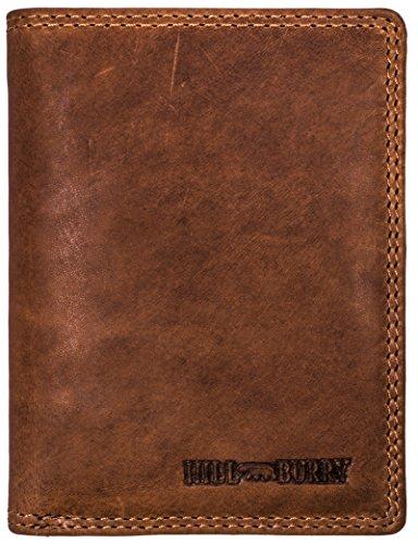 Hill Burry Herren Echt-Leder Geldbörse   Voll-Leder Vintage Portmonnaie Brieftasche Portmonee Geldbeutel - aus hochwertigen weichem Leder - Hochformat (Braun) (Leder Geldbörse Echt)