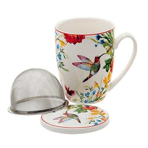 Tee-Tasse Teebecher Set mit Teesieb (Edelstahl) und Deckel Porzellan Teetasse mit Sieb Geschenk-Tasse Blumen Cup with tea infuser 320 ml von DUO 3teilig in Geschenkbox Becher Geschenkset (Linnea) -