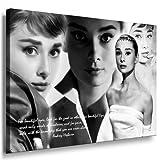 Audrey Hepburn Leinwandbild 100x70cm k. Poster ! Bild fertig auf Keilrahmen ! Pop Art Gemälde Kunstdrucke, Wandbilder, Bilder zur Dekoration - Deko. Film / Tv Stars Kunstdrucke