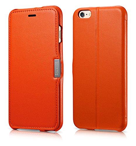 Lusso Custodia per Apple iPhone SE / 5S / 5 / 6S / 6 / 6S Plus / 6 / Case Parte esterna in vera pelle / dal tessile / custodia-protettiva lato pieghevole / ultra sottile Copertura - Marrone - marrone  Arancione - Orange - Glattleder