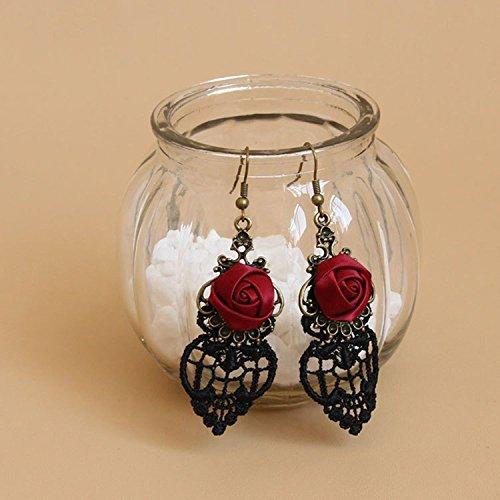 Yazilind Retro Style Lace Baumeln Rote Rose Blume Ohrring Stilvolle Schmuck Für Frauen Geschenkidee - 5
