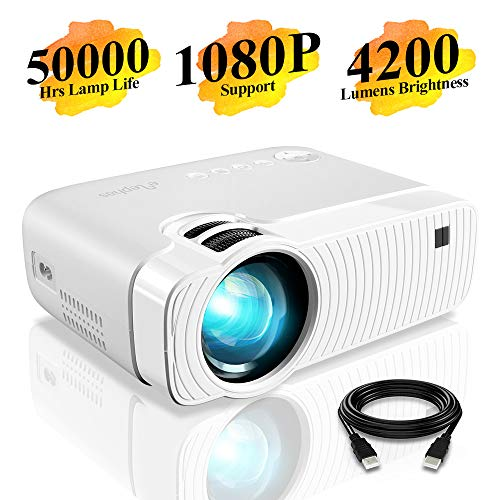 "Mini Beamer, ELEPHAS 4200 Lumen Tragbarer LED Projektor, unterstützt 1080P, Max 180 ""Display, 50000 Stunden Lampenlebensdauer, kompatibel mit USB / HD / SD / AV / VGA. MEHRWEG"