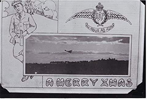 POSTER Photograph front Royal Air Force Christmas card drawing RAF crest words A Merry Xmas an airman arranged around photograph an aircraft flying over trees. note back states that card Camp Rathbun Royal Flying Corps training camp north Deseronto Ontario.1918. Deseronto eastern Ontario Canada Wall Art Print A3 replica