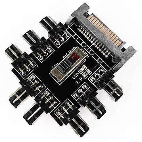 Fan Hub - 8X Lüfter - SATA Power 3-Pin Fan 8 Port Controller Splitter -