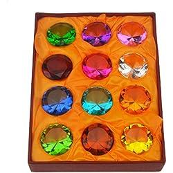 Geschenk-Box Set 12schöne Geburtssteine Briefbeschwerer aus Glas Diamant + Rot String Armband SKU: x9003