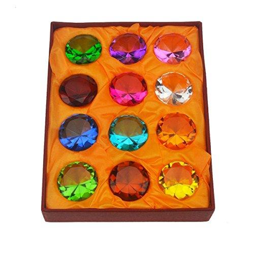 Geschenk-Box Set mit 12schönen Geburtssteinen, Briefbeschwerer Glas-Diamanten + Rotes Armband SKU: x9003