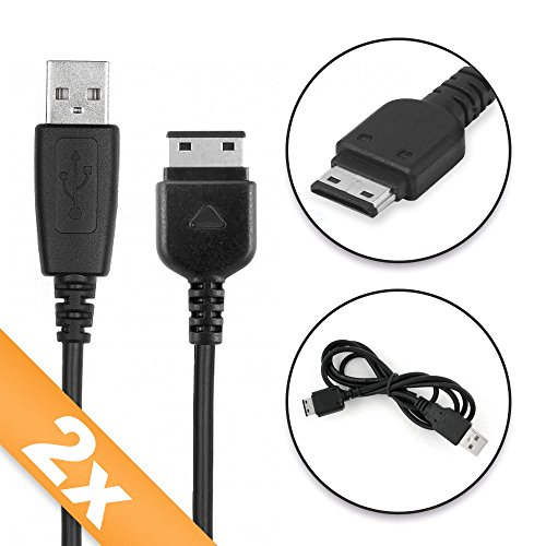 2X CELLONIC® Cable USB dato (1m) para Samsung PCBS10 | SGH-C180 / GT-C3050 / SGH-C270 / SGH-C450 / SGH-C200 (Samsung Connector (18 Pin) a USB A (Standard USB)) Cable de Carga Negro