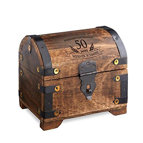 Geld-Schatztruhe zum 50. Geburtstag mit Gravur - Dunkel – Personalisiert mit Namen - Schmuckkästchen - Spardose - Aufbewahrungsbox aus Holz - Geburtstagsgeschenk-Idee - 14 cm x 11 cm x 13 cm