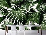 Fototapete 3D Wallpaper Palmblätter Fototapete Retro Tropischer Regenwald Palme Bananenblätter Wandbild Cafe Hotel Hintergrund Fresken, 350Cmx245Cm