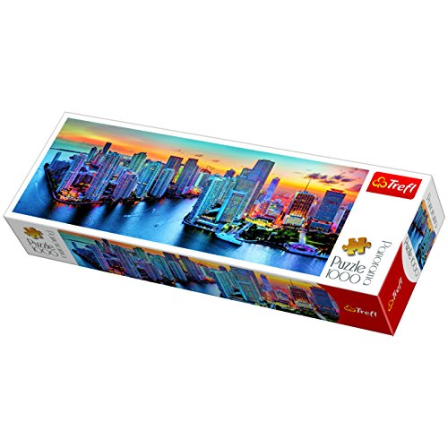 Preisvergleich Produktbild Trefl 29027 Panorama-Puzzle, Miami bei Nacht (1000Teile)