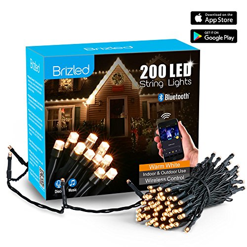 Brizled LED Lichterkette Bluetooth, 20m, 200LED, mit Adapter, 16 Funktionen, Durch Musik Kontrollierbar, Timer, Über IOS/Android HandyApp Steuerbar, Weihnachtsdeko. (warmweiß)(Modell:GVBL200) (Outdoor-led-low-voltage-beleuchtung)