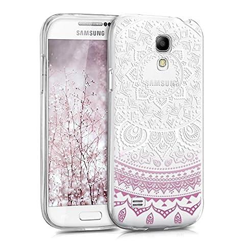 kwmobile Étui transparent en TPU silicone pour Samsung Galaxy S4 Mini en violet blanc transparent Design soleil