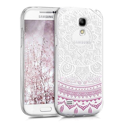 kwmobile Samsung Galaxy S4 Mini Hülle - Handyhülle für Samsung Galaxy S4 Mini - Handy Case in Indische Sonne Design Violett Weiß Transparent