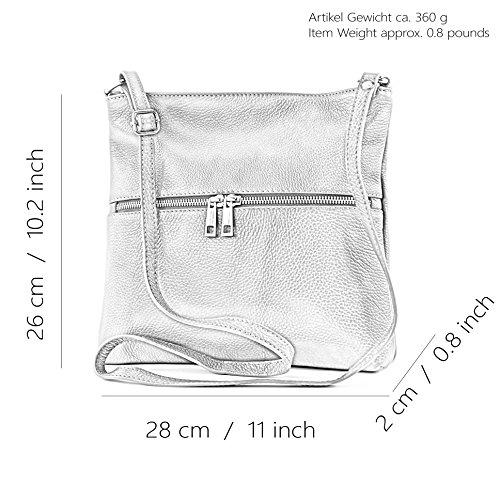 modamoda de -. borsa in pelle ital signore borsa a tracolla di crossover Cartella in pelle T144 Braun