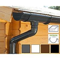 Kit gouttière PVC pour un versant | Extra100 | disponible en 4 couleurs | Idéal pour véranda ou chalet de jardin ! (Kit complet jusqu'à 3.50 m, Anthracite)