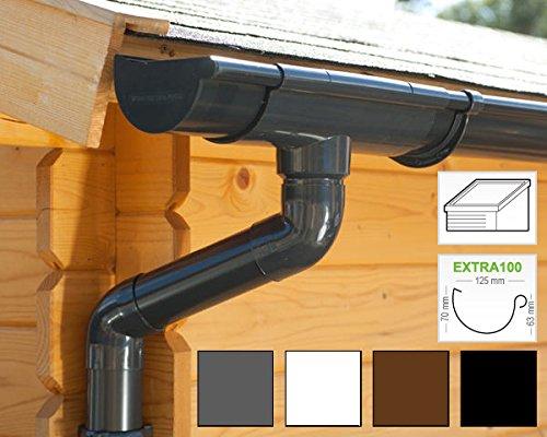 Komplettes Set bis 3.50 m, Hellgrau in 4 Farben! Dachrinnen//Regenrinnen Set Satteldach 2 Dachseiten | GD16