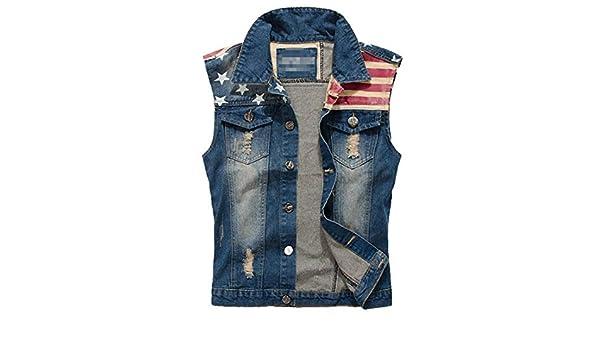 TeamWorld Uomo Casuale Graffiare Senza Maniche Cowboy Veste Giacca di Jeans Retro Denim Jacket Capispalla Moda personalit/à Denim Gilets Bandiera Americano