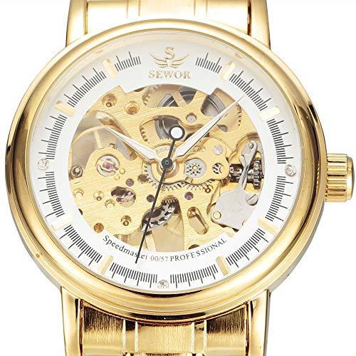 FENKOO Schöne Mechanische Uhren SEWOR Uhr Hohlen Stahlgürtel Herrenuhr Herren Mechanische Uhr halbautomatische Mechanische Uhr (Color : 1)