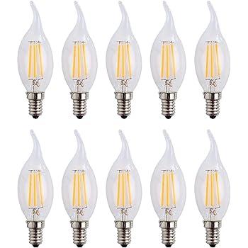 E14 4W LED vela de filamentos luz 40W bombilla incandescente equivalente, luz blanca cálida 2700 K 400LM No Regulable Pack de 10