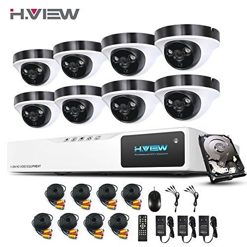 1080P Überwachungskamera System H.View 8CH AHD DVR und 8 Außen 1080P Dome Überwachungskamera Set für Innen und Außen 1TB Festplatte Bewegungsmelder IR Nachtsicht (1080p überwachungskamera Dome)