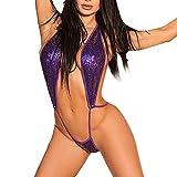 CLOOM Sexy Damen Bandage Pailletten Push-Up gepolsterter BH einteilige Bademode Eleganter sexy Onesuit Badeanzug Heiße sexy Dessous Halter siamesischer Bikini swimwear Hohe Bodysuit (S, Lila)