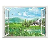 3D-Wandbild Geöffnetes Fenster,3D Gefälschte Fenster Landschaft Aufkleber Vinyl Wanddekoration Vintage Poster Dekorative Kreative Entfernbare Wandaufkleber-70X100CM