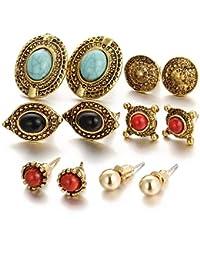 Shining Diva Fashion Jewellery Antique Stylish Fancy Party Wear Studs Traditional Earrings For Women Girls Combo(Golden)(cmb278)