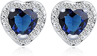 Yellow Chimes Crystals from Swarovski Blue Heart Crystal Designer Earrings for Women and Girls…