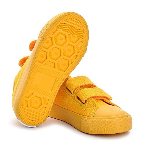 Estamico Mädchen Jungen Low-top Canvas Sneaker Unisex Kinder Turnschuhe Gelb