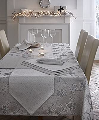 Christmas Table Cloth Glitter Effect 140 X 230 cm Seats 8 Ravina Silver Grey