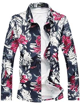 Zhhlaixing Camisa de primavera de los hombres Men's Spring Long Sleeve Collared Floral Hawaiian Holiday Shirt...