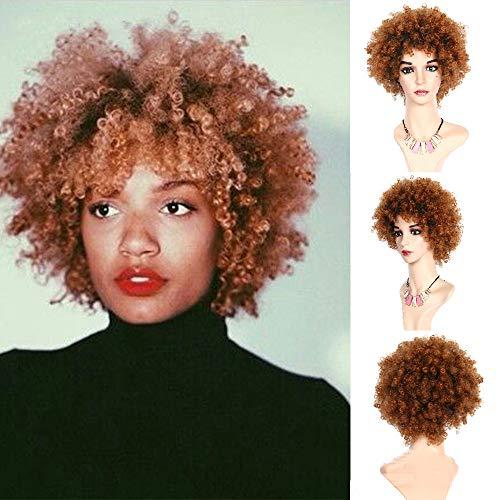 ROWIGS Afro Kupfer Braun Perücken Kurz Kinky Curly Synthetik Haar Zum Cosplay Halloween Hitze Beständig Perücke zum Schwarz Frau (T1B/350#)