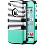 iPhone 5c Case, ULAK iPhone 5c Case High Protection Hybrid 3 Layer Soft Silicone Inner Case Hard Cover for Apple iPhone 5C (Minimal Mint Stripes)