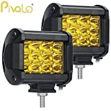#5: Pivalo Heavy Duty 12 LED CREE Fog Light Work Light Bar Spot Beam Off Road Driving Lamp Universal Fitting for All Bikes and Cars (36W, Yellow, Pack of 2)