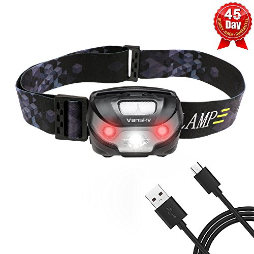 USB Rechargeable LED Head Torch, Vansky® Super Bright LED Headlamp, Waterproof Lightweight Hands Free with White & Red Light 5 Modes for Running, Camping, Fishing, Hiking【USB Cable Included】