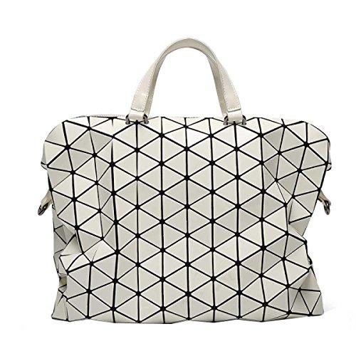 Ladies Handbag Borsa Trend Geometrica Lattice Briefcase Shoulder Bag White