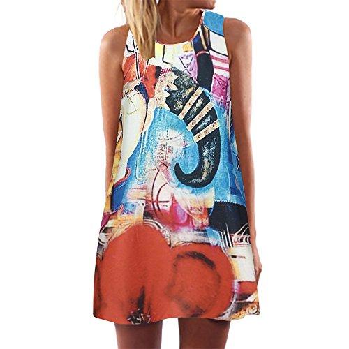 Damen Ärmellos Kleid Weste Minikleider Blumenkleid Drucken Strandkleid Vintage Abendkleid Rundhals...
