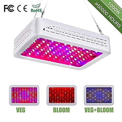 LED Grow Lights, Full Spectrum Panel Grow Light mit Bloom und Veg Switch für professionelle Zimmerpflanzen (1000 Watt) (Weiß) Z0422